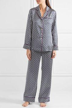 Olivia von Halle - Lila Aziza Printed Silk-satin Pajama Set - Storm blue