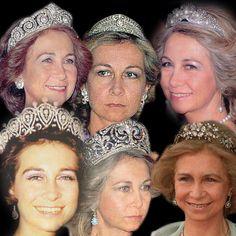Tiaras worn by Queen Sofia of Spain - Cartier Loop Tiara; Koch Greek Tiara; Mellerino Pearl Shell; Ansorena Fleur de Lis & Mellerino Floral Tiara
