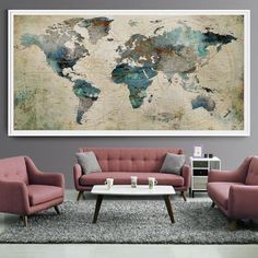 Extra Large Wall Art Push Pin World Map Art Print, Large wall decor abstract painting, World Map Poster, Extra large art world map (L35)