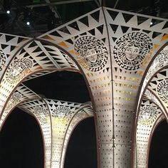 Cut out plywood arches @versace_official #mfw #fashion #menswear ( @jasonhughesinfo)  via WALLPAPER MAGAZINE OFFICIAL INSTAGRAM - Fashion Design Architecture Interiors Art Travel Contemporary Lifestyle