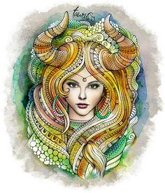 "Zodiac illustration ""TAURUS"" Art Print by balabolka | Society6 #tattoosleeve"