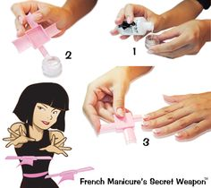 """Fastest French manicure in the world?  """"French Manicure's Secret Weapon"""" Watch video & purchase at www.FrenchTipDip.com Kits start at $10-$25"""