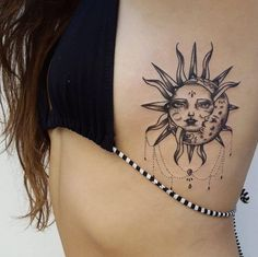 Intertwined sun and moon tattoo by Isabel Barcelona