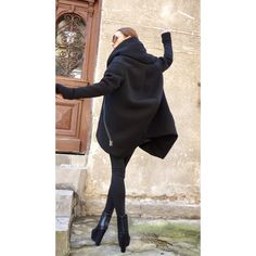 New Lined Warm Asymmetric Extravagant Black Hooded Coat Quilted Lined... (205 BAM) ❤ liked on Polyvore featuring outerwear, black, sweatshirts and women's clothing