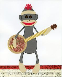 Items similar to Sock Monkey Kid's Art Print, Monkey & Banjo Nursery Decor, Monkey Child's Wall Art 8 x 10 collage print on Etsy Nursery Art, Nursery Decor, Nursery Ideas, Art Wall Kids, Art For Kids, Monkey Room, Frog Art, Childrens Room Decor, Pallet Art