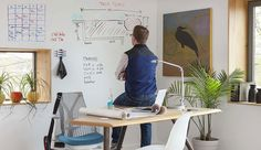 Home Office Design: 7 Very Creative Space Savers Dry Erase Paint, Dry Erase Wall, Home Office Space, Home Office Design, House Design, Office Spaces, Cool Office, Office Ideas, Expressions