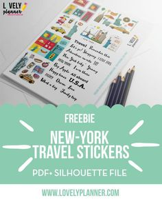 Download this set of free New-York travel stickers for your travel journal, planner, etc. Pdf and silhouette print and cut files included.