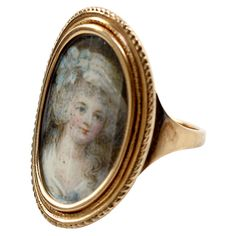 Antique Georgian Gold Portrait Miniature Ring, England, Georgian, late 1700s, with a portrait of Sarah Morley, the young woman mourned, whose death at just 22 in 1789 is noted on back.