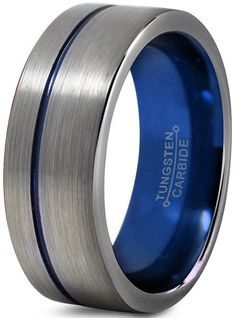 Tungsten Wedding Band Ring 8mm for Men Women Blue Silver Flat Pipe Cut Brushed Polished Lifetime Guarantee Size 9