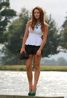Peplum and leather shorts