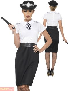 69ceeece3d25a Details about Ladies Police Lady Officer Costume Women Cop Fancy Dress  Outfit British Woman