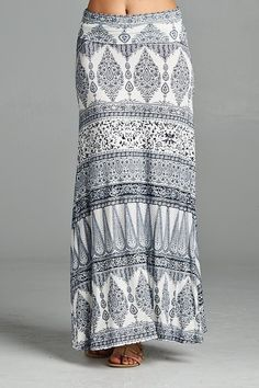 Bring out your inner boho with these fun and unique print maxi skirts! They are a cinch waist and fall all the way to the ground. The fit is flattering on all body types! Pair these with a dressy blou