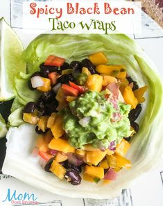 Spicy Black Bean Taco Wraps with Fresh Guacamole #Vegetarian #recipe #food #taco