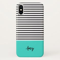 Black White Turquoise Stripe Pattern Custom Name iPhone X Case - pattern sample design template diy cyo customize