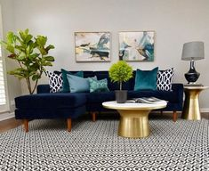 We aimed for full-on glam while designing our Marble-Topped Pedestal Coffee Table, framing its white marble top within a metal base. Blue And Green Living Room, Blue Couch Living Room, Navy Living Rooms, Glam Living Room, New Living Room, My New Room, Bright Living Room Decor, Condo Living, Small Living