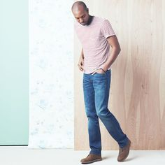 Wear a striped shirt with straight leg 7 For All Mankind denim.