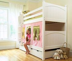 """Would love to make something like this """"house"""" for the girls bunk beds."""