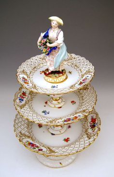 Meissen Porcelain Manufactory (Germany) — Centrepieces, Each Crowned by Sculptured Figurine