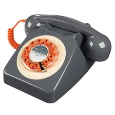 Retro telefoon - 746 Phone in betongrijs met oranje | Retro telefoons | passipasse