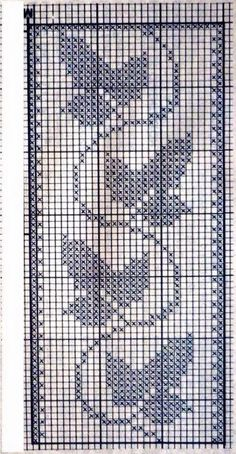 Crochet Bedspread Pattern, Crochet Curtains, Crochet Doily Patterns, Crochet Designs, Crochet Doilies, Cross Stitch Borders, Cross Stitch Designs, Cross Stitch Patterns, Filet Crochet Charts