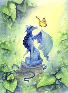 Dragon Art Original Watercolor Painting - Little Blue Dragon - fantasy. wings. butterfly. children. vibrant. green. ultramarine. whimsical.