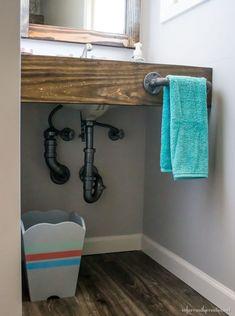 plumbing parts hand towel holder Bathroom Hand Towel Holder, Bathroom Towels, Small Bathroom, Bathrooms, Floating Bathroom Vanities, Floating Vanity, Bathroom Counter Storage, Wood Vanity, Home Projects
