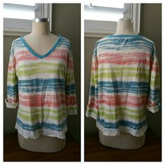 Casual V-Neck Lounge Top Casual V-Neck Lounge Top in EUC with no flaws. Great piece for vacation or pretending you are on vacation, very tropical feel. Measurements to come... Located in Poshmark closet @taylord2covet. Tops