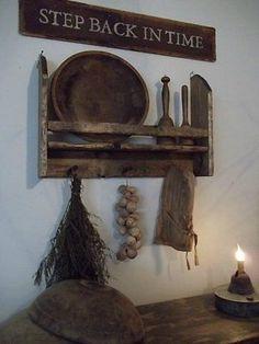 Primitive early inspired wooden bowl rack/peg rack