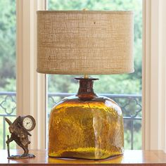 Apothecary Glass Jug Table Lamp, for guestroom, some kind of amber glass accent, old jugs or lamp, copper, amber hued bedding, wood etc to coordinate with greige.