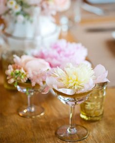 Perfect peonies and lovely pinks and peaches in vintage gold detailed glassware. York maine bridal shower. Photography: emilieinc.com |Pinned from PinTo for iPad|