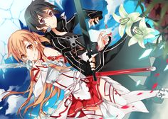 armor black_hair clouds flowers kirigaya_kazuto kuragari long_hair short_hair sky sword sword_art_online weapon yuuki_asuna