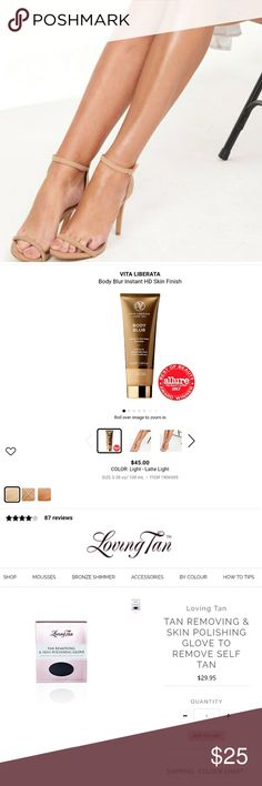 """""""Get Your Tan On!"""" 5☆ Luxury Tan Products {RV $35} NEW/Unused   {1} Tan Removing & Skin Polishing Glove(Reusable)~> removes tan easier than ever. Removes dead skin & preps skin for next application, looking & feeling silky & smooth.   {1} Vita Liberata 24hr Instant HD Body Blur in Latte (7ml- Travel Size) ~> BB properties minimize blemishes, cover imperfections, & smooth skin appearance while reflecting light for a photo-ready skin finish. Natural-looking tint lifts your skin tone, add…"""