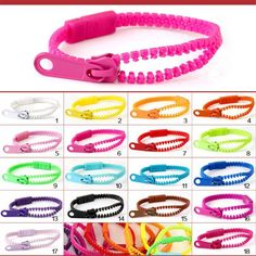(Monochrome) Harajuku zipper bracelet Fluorescent color rainbow bracelet Level of personalized gifts Women Men Kids Accessories