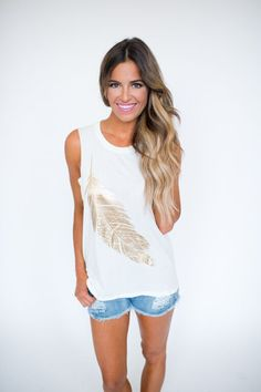 Ivory/Gold Feather Tank - Dottie Couture Boutique