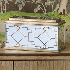 Global Views Berkeley Box | from hayneedle.comDimensions: 16L x 8W x 9H in. Glass construction Vintage-inspired design with decoupage detail Mirror finish with painted gold roping Inspired by French decorator Jean-Baptiste Glomy