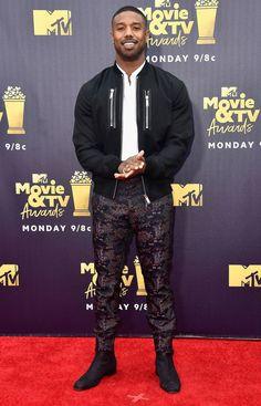 See Chadwick Boseman, Tiffany Haddish, more stars on MTV Movie & TV Awards red carpet Michael Bakari Jordan, Black Men Street Fashion, Cute Black Guys, Tv Awards, Celebrity Style Inspiration, African Men Fashion, Fine Men, Attractive Men, Gorgeous Men