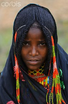 Africa | Young Afar girl with braided hair. Ethiopia | © Christophe Boisvieux