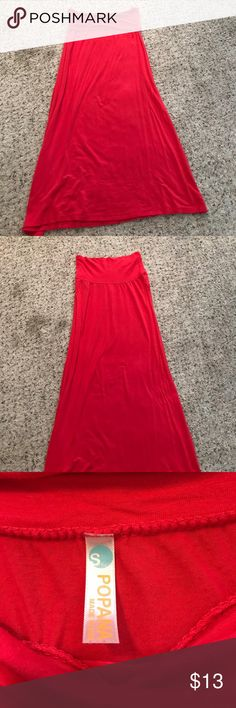 Coral maxi skirt Worn but good condition. Great bright coral color Skirts Maxi