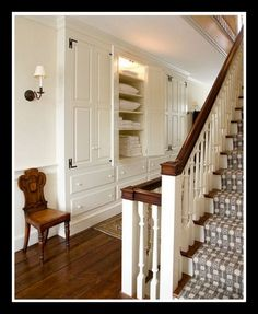 Hallway with built in cabinets