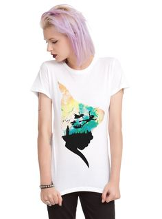 "<div>Let Peter Pan be your guide as you fly to Neverland in this T-shirt from Disney. The fitted white tee features a silhouette of Peter's head with an image of him and the Darlings flying over London. </div><div><ul><li style=""LIST-STYLE-POSITION: outside !important; LIST-STYLE-TYPE: disc !important"">100% cotton</li><li style=""LIST-STYLE-POSITION: outside !important; LIST-STYLE-TYPE: disc !important""..."