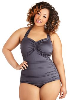 Esther Williams Bathing Beauty One Piece in Pewter - Plus Size | Mod Retro Vintage Bathing Suits | ModCloth.com