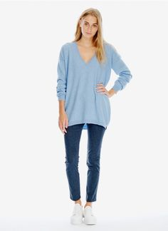 Cashmere Slouchy V Neck Tunic - Women's Jumpers | Brora