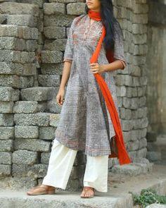 Grey Dabu Printed Cotton Kurta I Shop at…