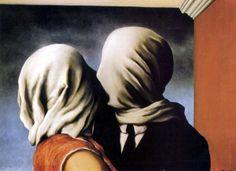 René Magritte * Les amants  1928 * Baisers... De cette bouche rose sucrée J'ai vu perler De douces traînées