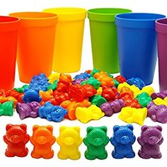 Amazon.com: 60 Rainbow Counting Bears with Color Matching Sorting Cups Set by Skoolzy- Montessori Toddler Counters & Preschool Math Manipulative Toys for Girls and Boys - Free Activity Guide Download: Toys & Games