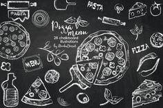 Chalkboard Pizza Cliparts - Italian Kitchen Illustrations, Chalk Graphic Design Elements