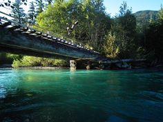 Sea to Sky bike trail in Whistler BC - beautiful bridge spot Sky Bike, Bike Trails, Whistler, Tulum, British Columbia, Canada, River, Bridge, Photography