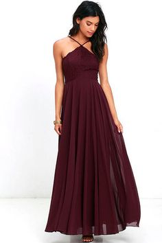 The Everlasting Enchantment Burgundy Maxi Dress will have admirers under your spell! Adjustable spaghetti straps support a lacy halter bodice, then crisscross at back. Layers of chiffon sprout from a fitted waist, then sweep down to an elegant maxi length. Hidden back zipper with clasp.
