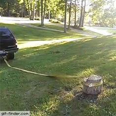 Let's remove that tree trunk with our 4 wheeler | Gif Finder – Find and Share funny animated gifs
