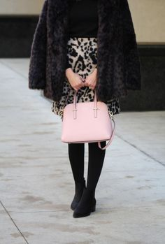 leopard skirt and faux fur, winter style